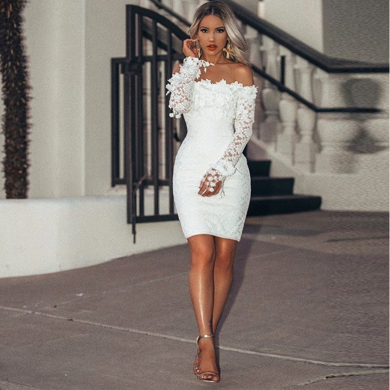 Off The Shoulder Long Sleeves White Cocktail Dresses Knee Length Short Prom Dresses Party Gowns