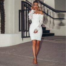 Off the Shoulder długie rękawy białe sukienki koktajlowe kolano długość krótkie suknie balowe sukienki na przyjęcie tanie tanio Cocktail party Pełna STRAPLESS NONE Poliester Proste Aplikacje Koronki Naturalne REGULAR 051602 simple shinesia_zoe