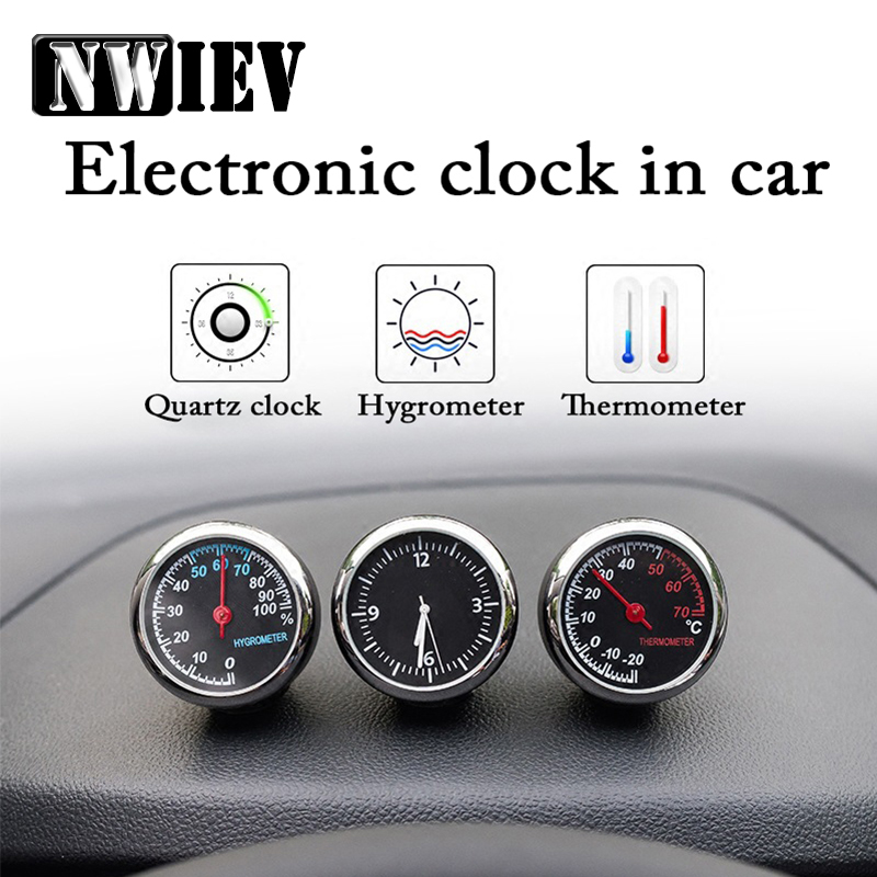 NWIEV For VW Polo Jetta Toyota Corolla <font><b>Mercedes</b></font> <font><b>W203</b></font> Saab Renault Dacia Car Clock Thermometer Hygrometer Ornaments Accessories image