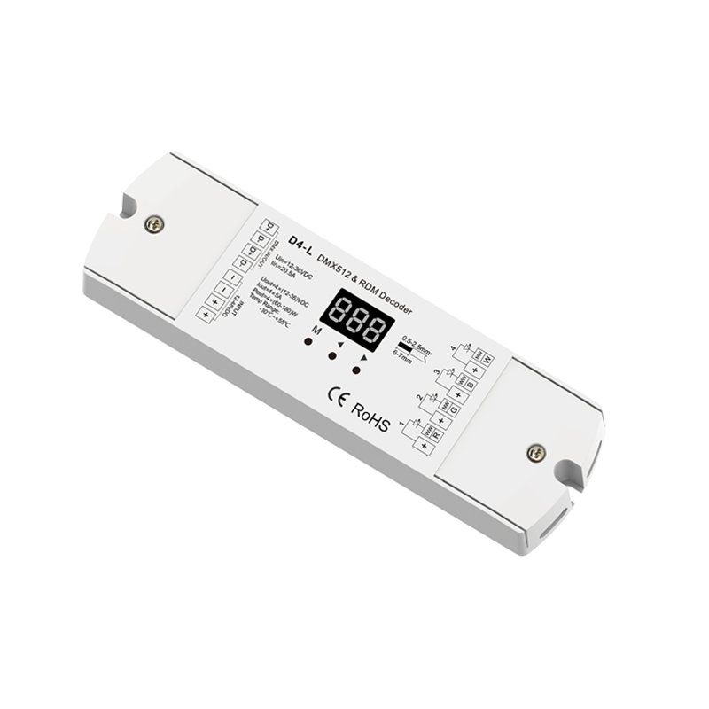 New Skydance D4-L 4CH CV DMX Decoder;DC12V - 24V input;5A*4CH output 4 Channel DMX512 LED RGBW Strip DMX RDM Decoder 4channel 4ch pwm constant current dmx512 rdm led decoder with digital display xlr3 rj45 port dc12v 48v input setting dmx address