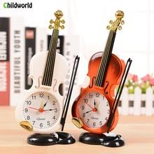 Simulation Violin Figurine Creative Musical Instrument Modeling Desktop Clock Living Room Plastic Ornaments Student Gifts