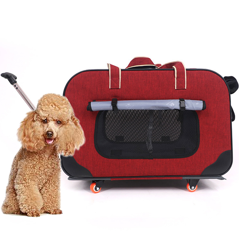 60x35x39cm Four wheels Folding Dog Cat Traveling Case Stick Luggage Box Pet Stroller Dog Walking Carrier