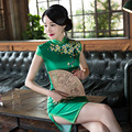 High Fashion Chinese Women's Traditional Dress Classic Satin Qipao Short Cheongsam Vintage Mandarin Collar S M L XL XXL