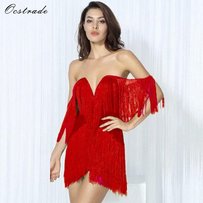 Ocstrade Sexy Tassel Dress 2017 New Arrival Elegant Red Sexy Ladies Mini Bodycon Party Dresses White Black