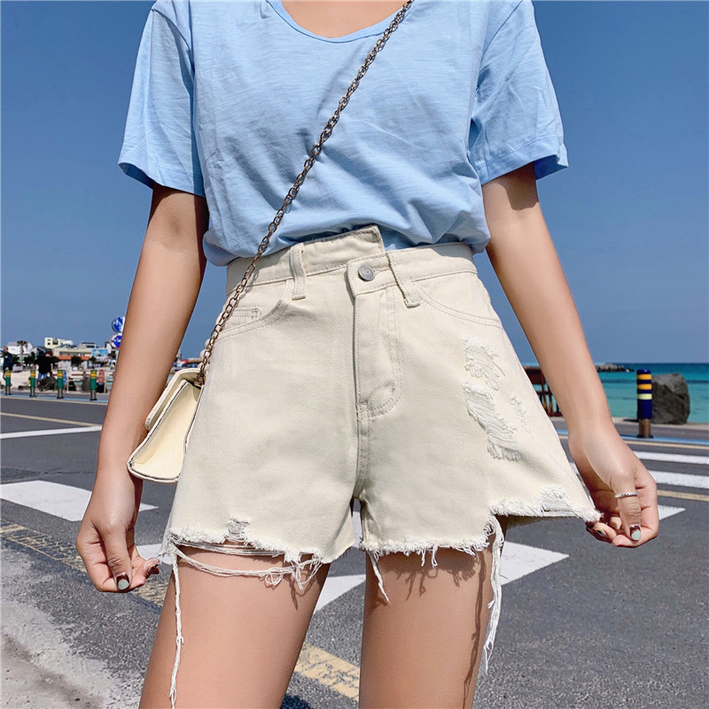 S-XL 2 Colors Summer High Waist Ripped Mini Shorts Feminino Irregular Denim Shorts For Women Short Jeans Womens Shorts  (Z6292)
