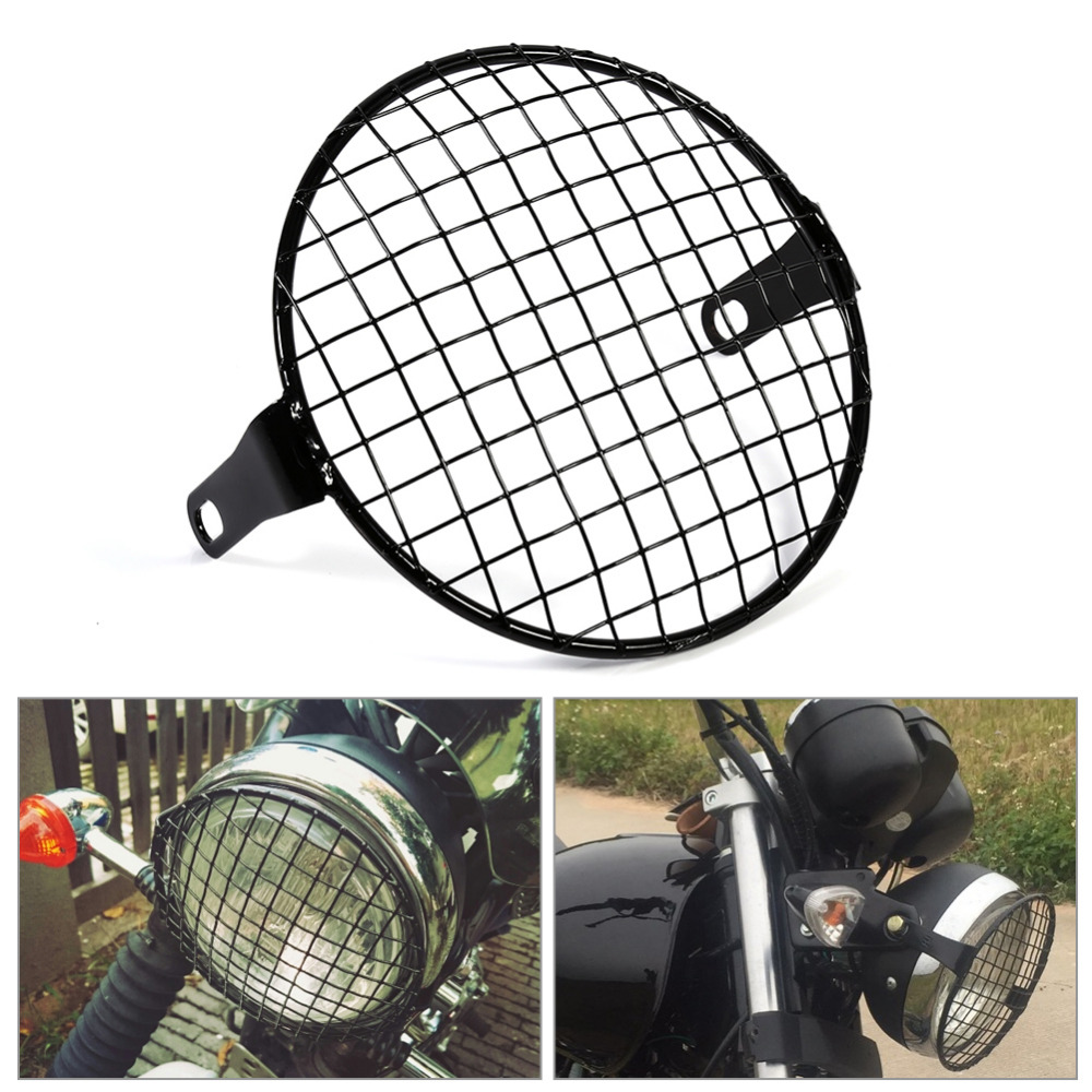 6.3 Retro Motorcycle Motocicleta Grill Side Mount Headlight Lamp Cover Mask Cafe Racer Accessories xuankun cafe racer generations of motorcycle off the rail scrambler right side cover frame cover