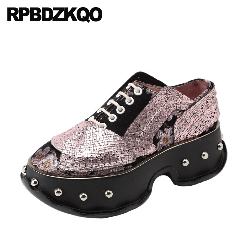 Floral Print Designer Shoes Women Luxury 2018 Flower Pink Genuine Leather Metallic Stud Sneakers Wedge Rivet Harajuku Creepers active random floral print high waisted tracksuit in pink