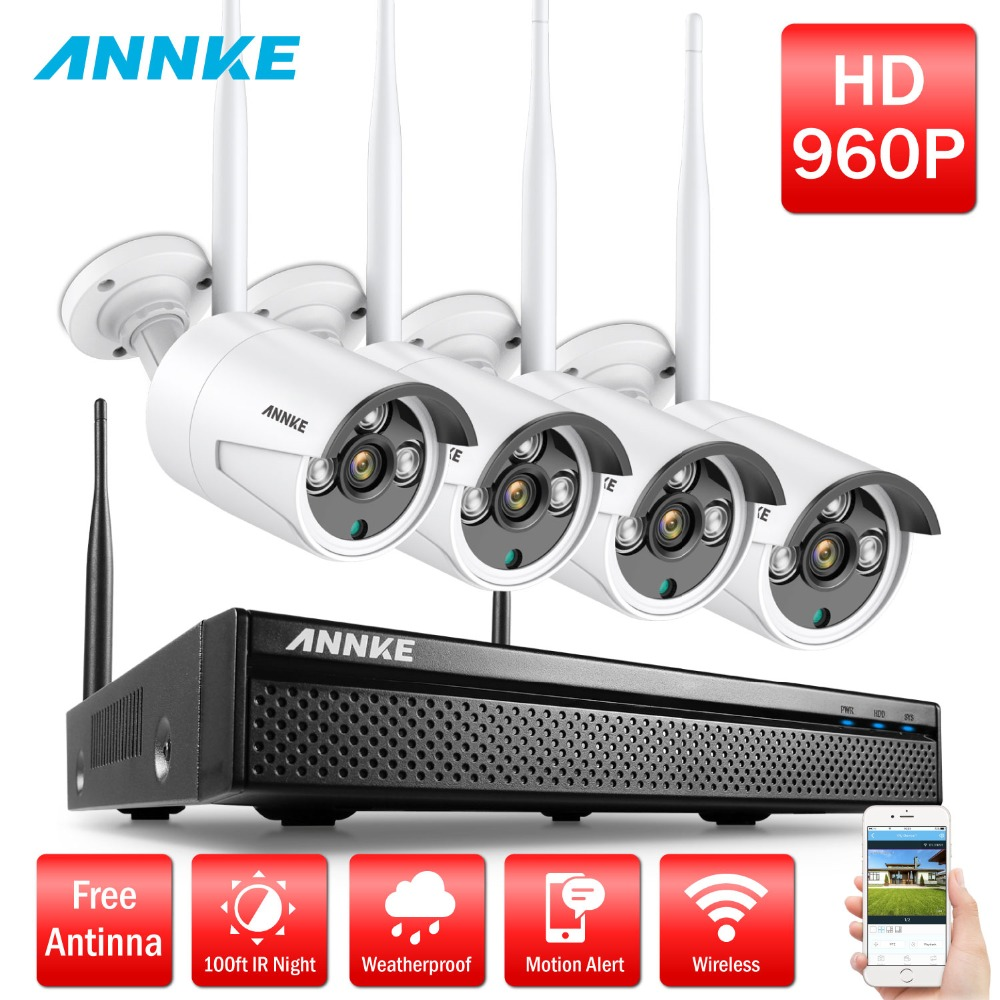 ANNKE Wireless Wifi Surveillance CCTV Camera System 4CH NVR 4PCS 960P HD Outdoor IP Camera Waterproof Security Camera System Kit