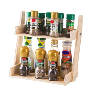 Image 2 - Multi layer Kitchen Condiment  Rack Wooden Large Capacity Multifunction Durable Storage Countertop Stand Herbs Jars Home