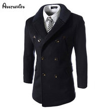 Free Shipping Autumn Winter New Men Trench Coats Knitted Collar Men's Long Style Windbreaker Double Breasted D95(China)