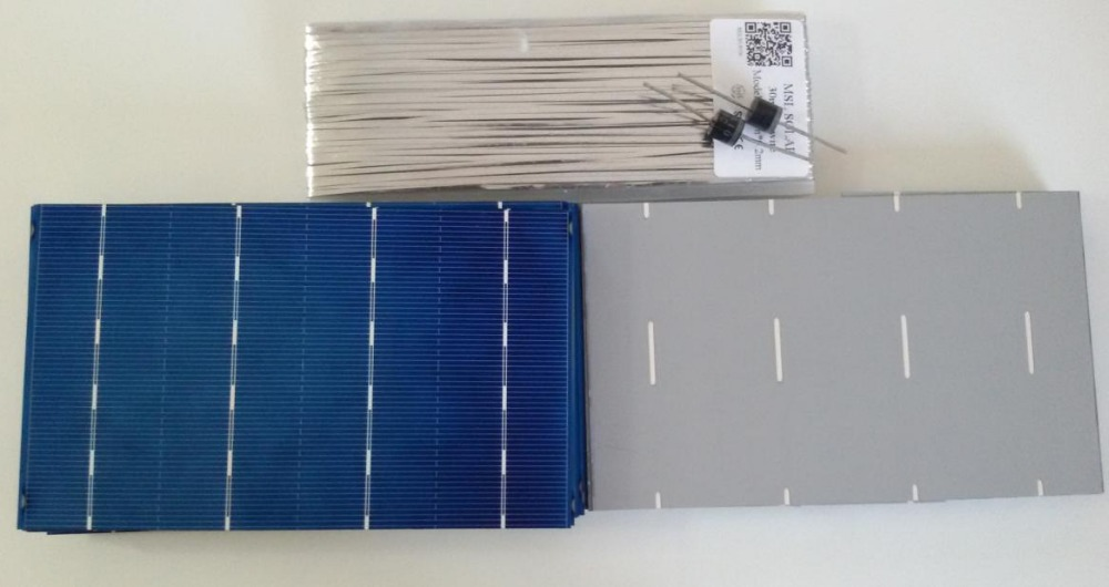 MSL SOLAR Kit 36pcs 3.7 x 6 A(-) Grade solar Panel cells + Tabbing WIRE + Diodes. 2.5W/piece 0.5V Free shipping