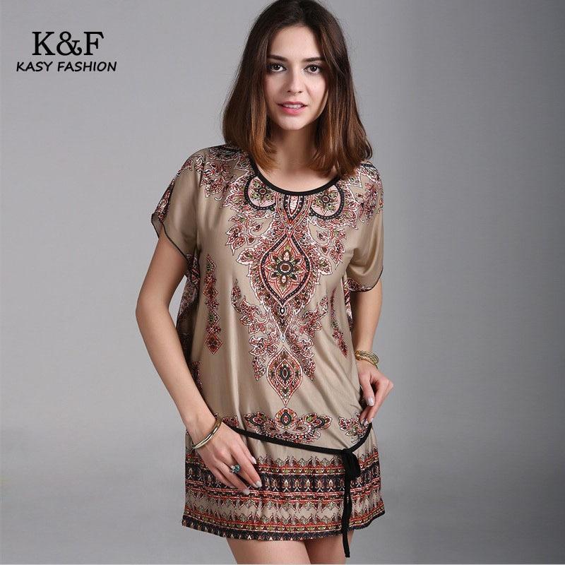 Bohemian Short Sleeve Tunics for Women