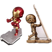 Mobile Phone Iron Avenger Man Bracket Stand Cartoon Marvel Office Desktop Holder Doll Desk Accessories For iPhone Xiaomi Samsung(China)