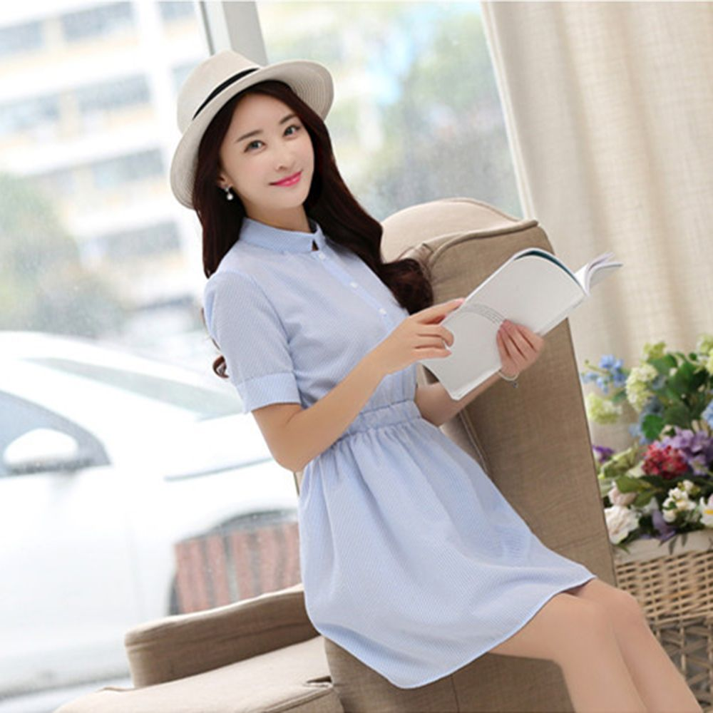 Punctual Fashion Women Dress Autumn Casual Short Sleeve White And Blue Striped Linen Summer Waistband Party Girls New A Wide Selection Of Colours And Designs Women's Clothing