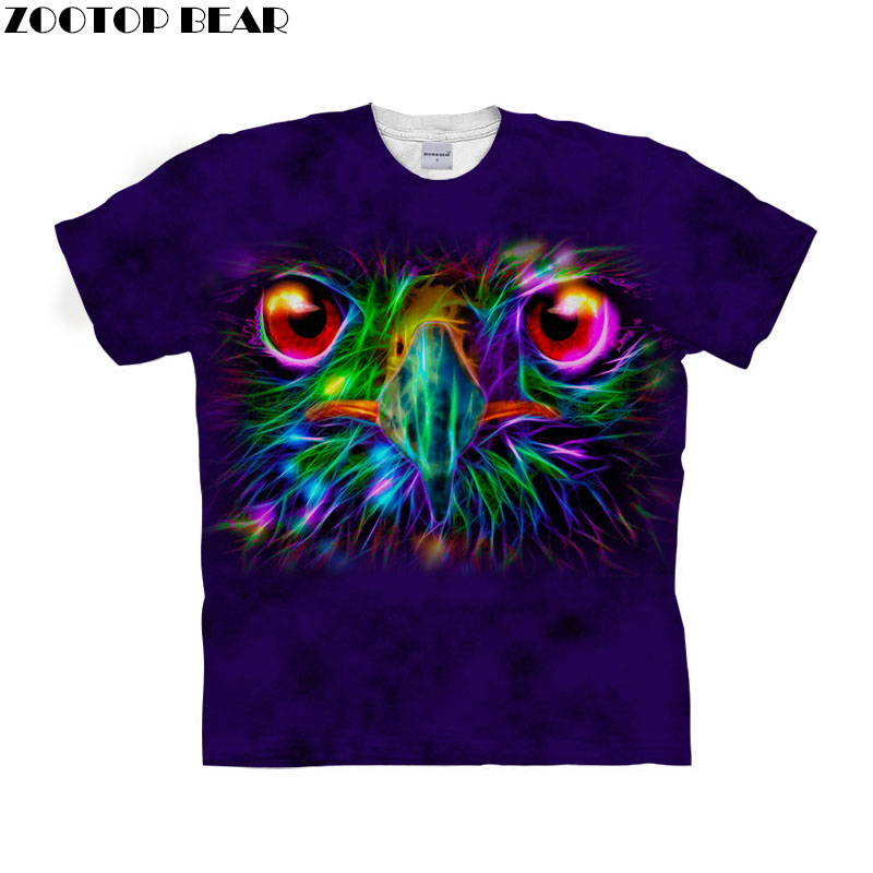 Funny Owl t shirt 3d t-shirt Men Women tshirt Fashion Top Anime tshirt Short Sleeve 3d 6xl Plus Streetwear Drop Ship ZOOTOP BEAR