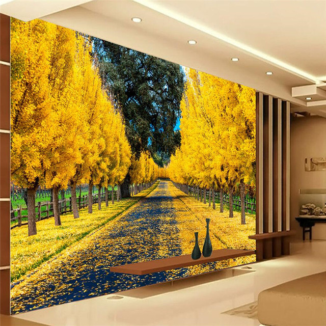 Customize Size Mural Wallpaper Background Yellow Maple Leaf Road ...