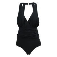One Piece Swimwear Women Plus Size Push Up Swimsuit V Neck Design Bandage High Quality Summer