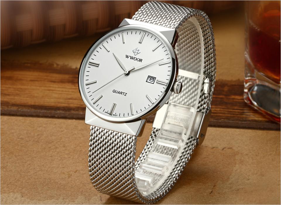 WWOOR Brand Luxury Men Waterproof Stainess Steel Casual Gold Watches Men's Quartz Sport Wrist Watch Male Clock relogio masculino 5