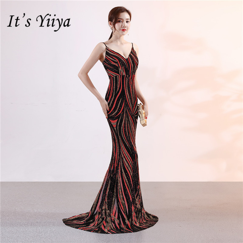 It's Yiiya Spaghetti Strap Prom   dress   Sequined Floor-length Mermaid long Party Gowns Zipper back V-neck   Evening     dresses   C090