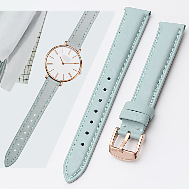 12mm 14mm 15mm 16mm 17mm 18mm 19mm rose gold real leather strap, watch band, pink, blue and Gray Lady Watch free postage.