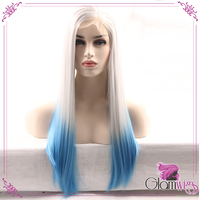 White Ombre Blue Two Tone Color Silky Straight Synthetic Lace Front Wigs White Blonde Wig Heat Resistant Wigs Women Fashion Wig