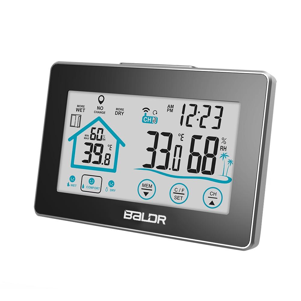 Baldr LCD Digital Wetter Station Thermometer Wireless Sensor Indoor/Outdoor Temperatur Feuchtigkeit Meter Hygrometer Touch Uhr