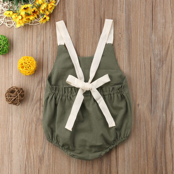 Summer Bowknot Backless Romper Casual Plain Outfit For 0-24 Months Baby 3