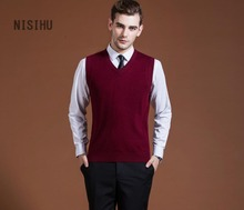 2017 New Autumn Winter Warm Cashmere Sweater Vest Men Classic Sleeveless Wool Solid Color Jersey Casual V-Neck Pullover