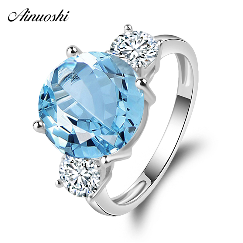 AINUOSHI 3 Stone Ring Pure 925 Silver Natural Blue Topaz Ring 5 Carat Round Cut Gemstone Fine Wedding Engagement Ring for WomenAINUOSHI 3 Stone Ring Pure 925 Silver Natural Blue Topaz Ring 5 Carat Round Cut Gemstone Fine Wedding Engagement Ring for Women