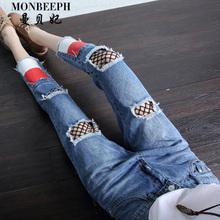 2017 new mesh Ripped Jeans For Women Skinny Denim Capri Jeans Femme hole Female Jeans Vaqueros Mujer Slim Harem Pants For Women