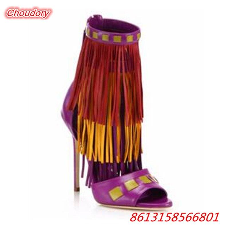 Mixed Colors Fringe font b Women b font Sandals Sexy Peep Toe Super High Heels font