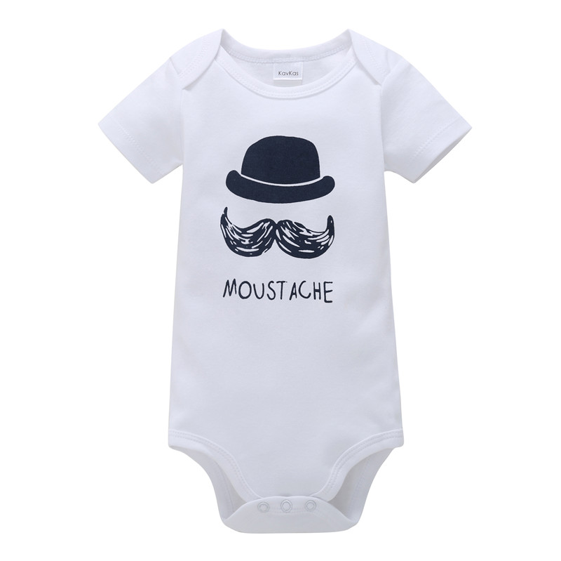 0-18M Newborn Baby Boy Rompers Baby Clothes Cotton Newborn Clothes Summer Unisex Infant Jumpsuit Moustache Hat Playsuit