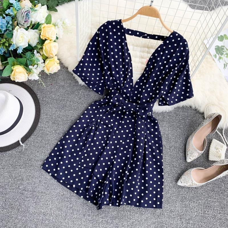 Boho Deep V Neck Vintage Polka Dot Sexy Summer Bandage Short Jumpsuit Casual Backless Women Playsuit Beach Holiday Tie Romper