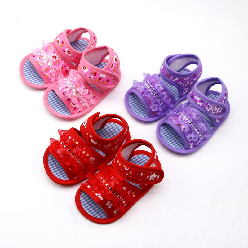 Summer Toddler Sandals Baby Girl Boy Shoes Princess Floral Hollow Sandals Children Shoes Print Flower Cotton Beach Shoes