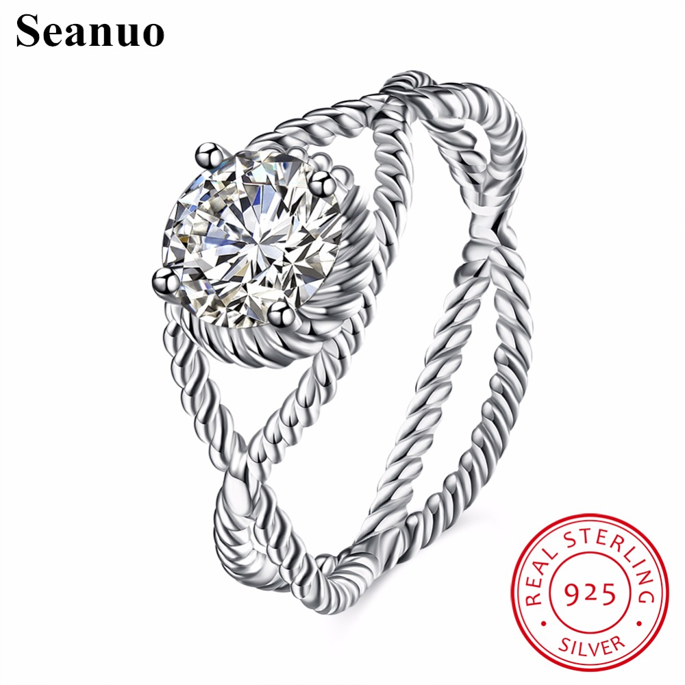 Seanuo Unique 100% Sterling Silver Twisted Cross Party Ring Jewelry Fashion Elegant 925 Brand Sexy Women Anniversary Finger Ring