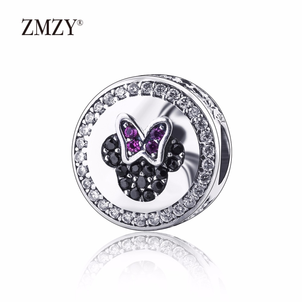 ZMZY Authentic 925 Sterling Silver Charms Mickey Minnie Sparkling Icons With CZ Beads Fits Pandora Charm Bracelet