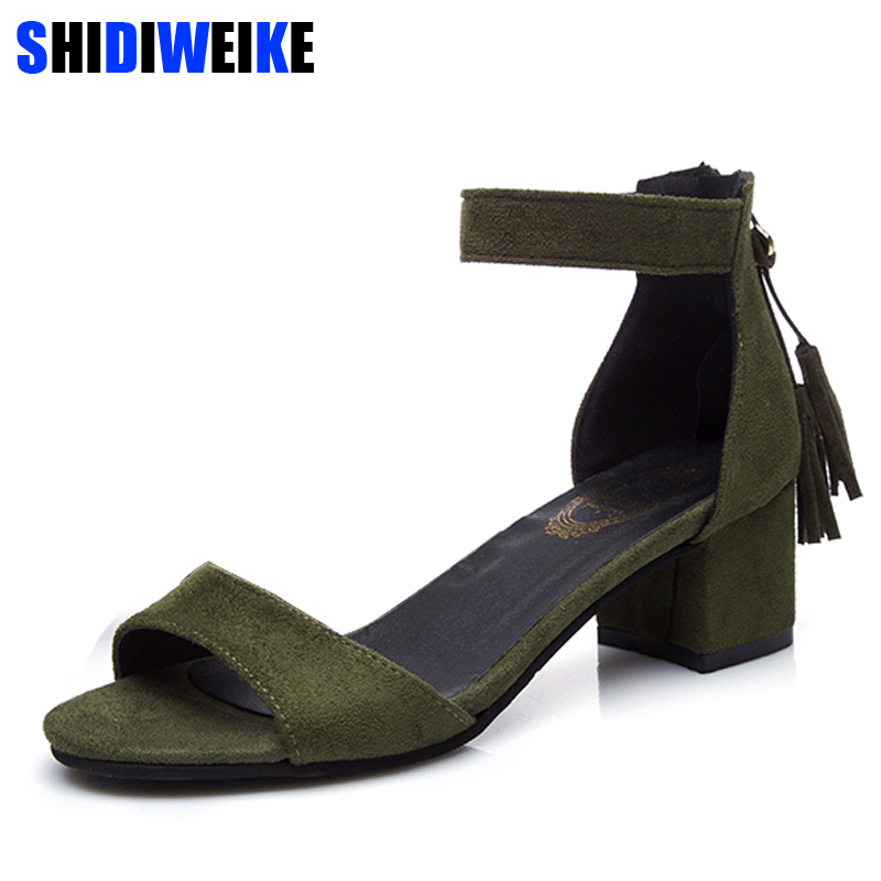Woman Shoes 2019 summer Tassel Flock women sandals fringe sandal heels Thick high heels sandals sandalias de salto alto m455Woman Shoes 2019 summer Tassel Flock women sandals fringe sandal heels Thick high heels sandals sandalias de salto alto m455