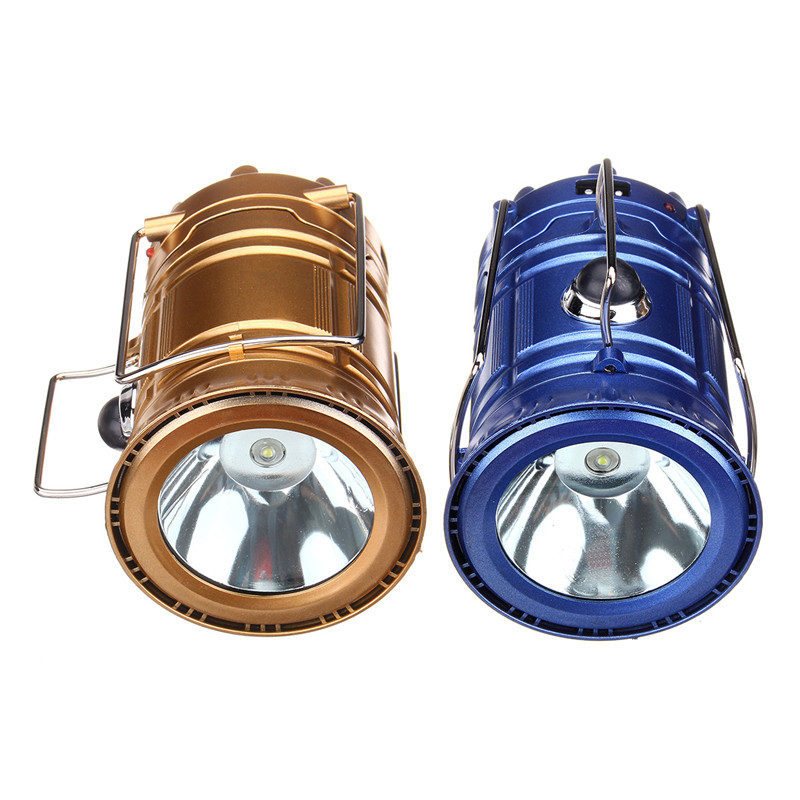50LM Solar Camping Lantern Lamp Portable Outdoor Multi-function Rechargeable Tent Hiking LED Lights White Light Blue/Gold Shell