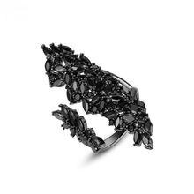 Модное большое Открытое кольцо для вечерние женщин с черным