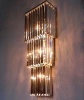 Pode ser personalizado de alta-grade triângulo alta-grade villa lâmpada lâmpada de parede de cristal de aço inoxidável do hotel lâmpada engenharia ZH FG840