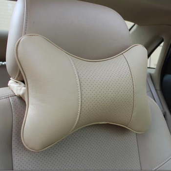 2pc artificial leather burrowing car headrest supplies neck massager car safety pillow for Toyota Lexus image