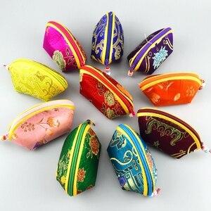 Saco pequeno do presente dos doces do escudo do casamento festa de aniversário do natal favor chinês brocado de seda moeda bolsa zíper embalagem de jóias bolsa