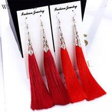 WNGMNGL Women Tassel Earrings Bohemian Silk Fabric 10 Colors Geometric Long Drop For 2018 New Fashion Jewelry