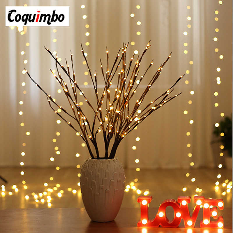 LED Willow Branch Lamp Floral Tree Light 20 Bulbs Christmas Party Home  Holiday Birthday Gift Battery Powered t Vase Decor Lamp