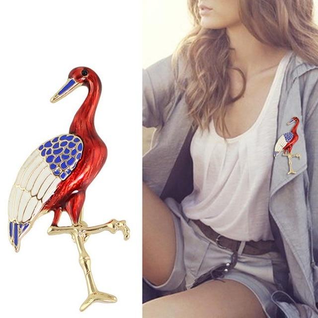 2018 Terbaru Fashion Style Merah Crowned Crane Bros Pin Bros Kelas Atas Korsase Bros Perhiasan untuk Wanita Pesta Hadiah
