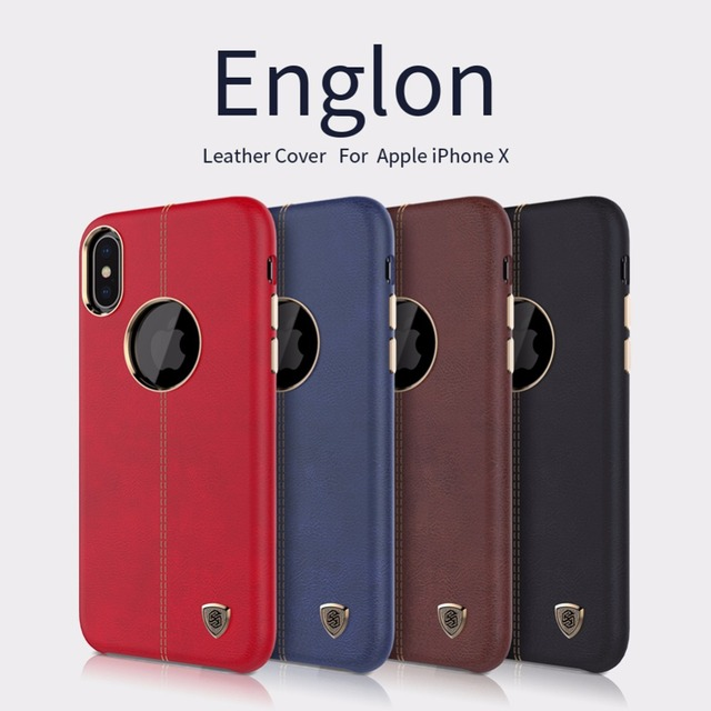 quality design 25b65 845f1 US $87.92 |10pcs/lot wholesale NILLKIN Englon Leather Cover For apple  iphone x Vintage Back Case For iphone x-in Fitted Cases from Cellphones &  ...