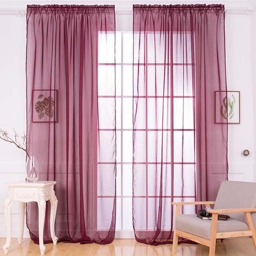 Fashion Home 1m * 2m Doors Solid Tulle Sheer Tulle Curtains Many Colors  Pure Color Chiffon Curtain Wedding Decoration P50
