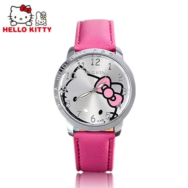 Hello Kitty Watch Women Kids Cute Cartoon Watch Baby Leather Strap Children Watc