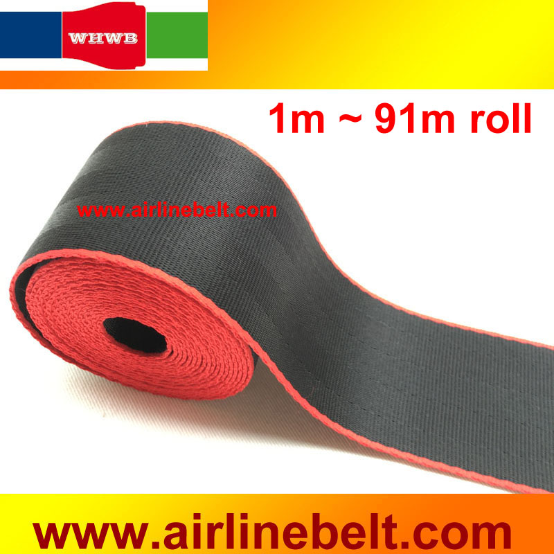 48mm Width High Tensile Polyester Black Red Edges Car Seat Belt Webbing Automotive Safety Replacement 1 91 Meters Roll In Belts Padding From