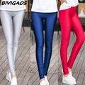 Summer new spandex leggings de seda gelo fino leggings skinny slim calças legging brilhante multicolor estiramento calças de fitness mulheres